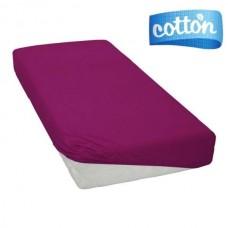 Tamsiai violetinės spalvos satino paklodė su guma
