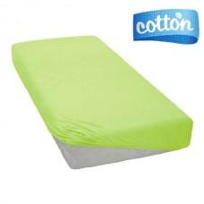 Šviesiai žalios spalvos satino paklodė su guma