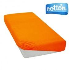 Oranžinės spalvos satino paklodė su guma